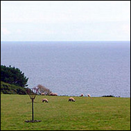 View out over thie fields to the sea